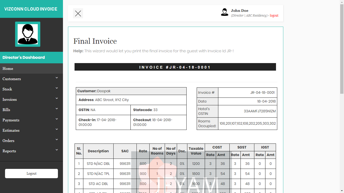 VizConn Cloud Invoice